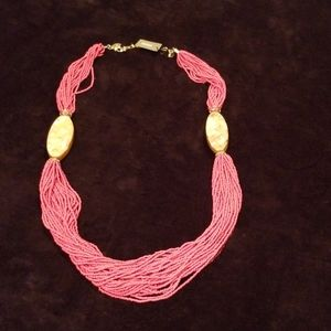 Chico's Coral Color Beaded Multi strand Necklace
